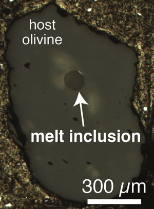 One of the melt inclusions containing completely enclosed mantle magma with its original carbon content preserved