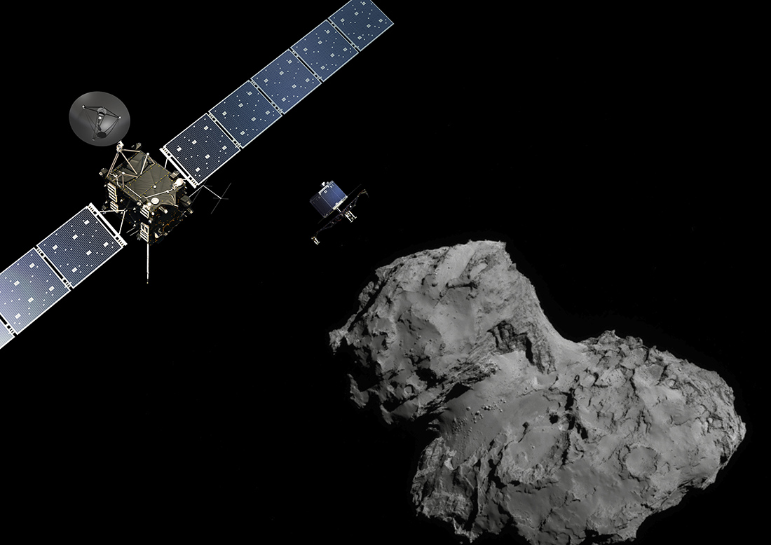 The Rosetta mission poster showing the spacecraft and its deployment of the Philae lander to comet 67P-Churyumov–Gerasimenko
